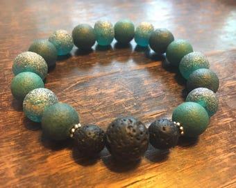 Turquoise, teal, and aqua plus lava stones // essential oil bracelet // stretch // aromatherapy // yoga