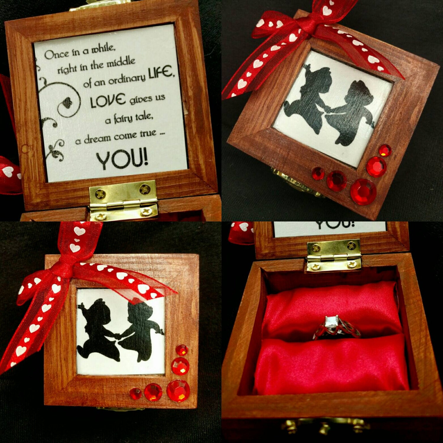 Disney Fairy tale inspired Engagement Ring Box with Quote | Etsy