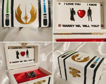 """Disneys Star Wars inspired Leia & Han Engagement Ring Box w/ Quote inside """"I love you.... I know.... Marry me, Will you?"""". Customizable :)"""
