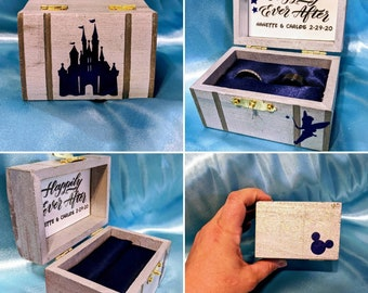 """Disney Cinderella Castle inspired proposal ring box with quote inside: """"Happily ever after"""" ~ Hand painted, made to order, and customizable"""