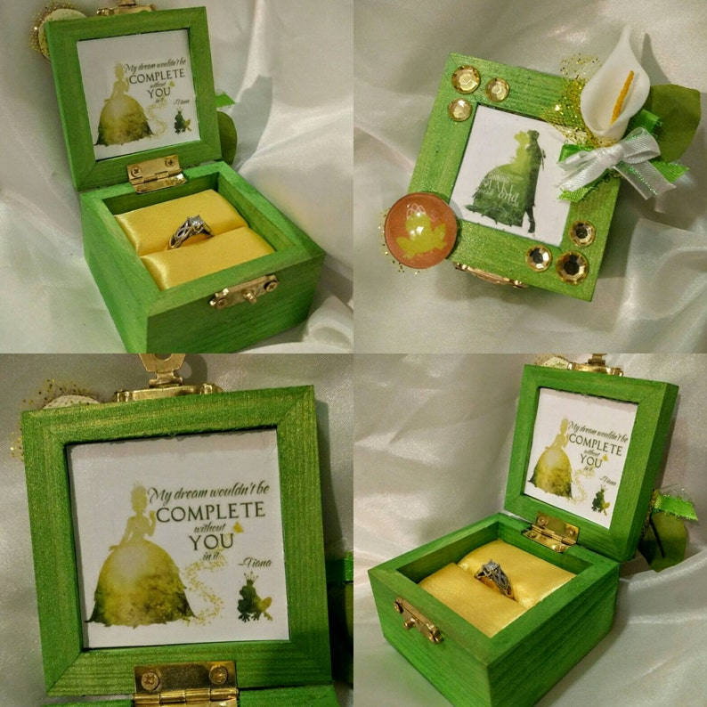 My Dream Wouldn/'t be Complete Without You in it Customizable Disneys The Princess and the Frog inspired Engagement Ring Box Quote inside