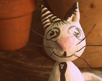 """Cat miniature sculpture """"H: 10 cm..."""" UniQUE piece!"""