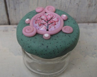 """Small jar glass deco cabochon, resinepolymere """"h: 4cm"""""""