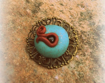 Unique model,(3cm), hand made polymer resin brooch
