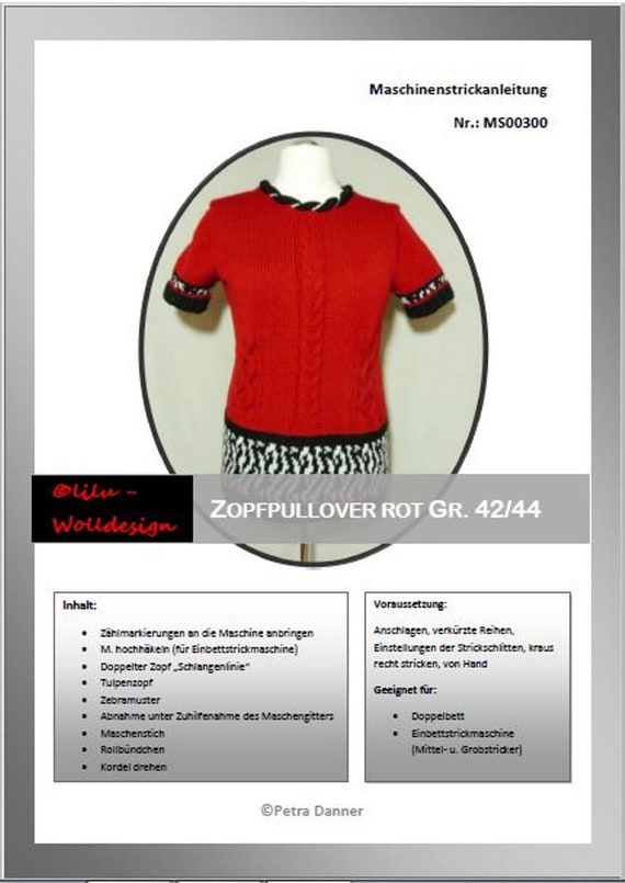 Ähnliche Artikel wie Anleitung Strickmaschine Zopf-Pullover MS00300 ...