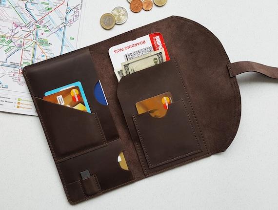 90721f3c72b1 Travel Document organizer, Passport travel wallet, Passport wallet,  Personalized, Travel Passport Holder, Boarding pass holder, Brown