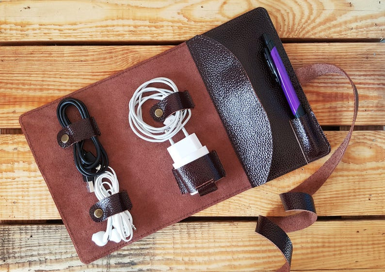841b4ce612e8 Leather Cable Organizer Cord Wrap Personalized Cord   Etsy