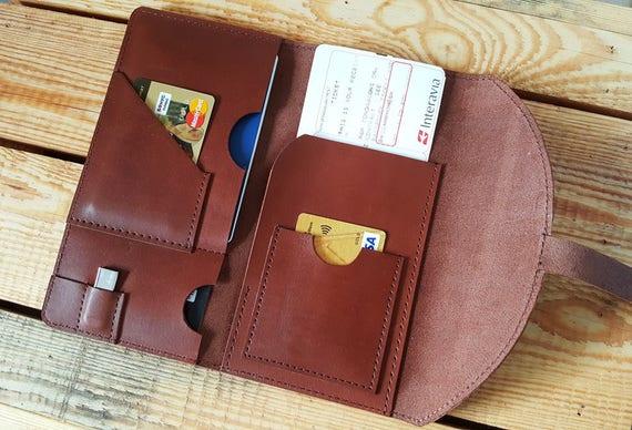 d31f677cde26 Leather Document organizer, Travel Wallet, Personalized, Passport wallet,  Passport Holder, Boarding pass holder, Brown, Anniversary gift