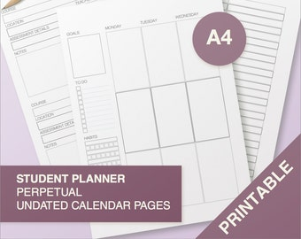 Student planner perpetual - no dates - A4 Black and White - printable, print at home, digital prints