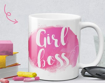 Girl boss pink coffee mug - cute boss lady mug - statement mug