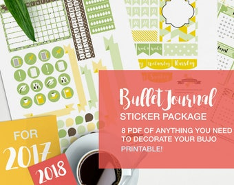 bullet journal stickers package - v02 yellow and green