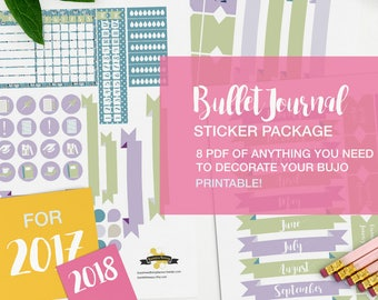 bujo stickers package - printable - v06 green and lavender