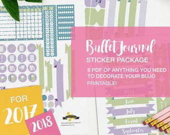 bullet journal stickers package - A4 - printable, print at home, digital prints  - color variation 06 - lavender fields