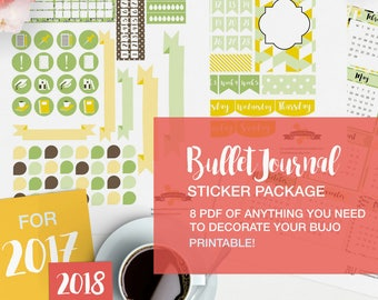 PDF bullet journal stickers package - v02 - lime and lemon - bujo inserts, monthly bullet, fauxdori accessories, bullet journaling