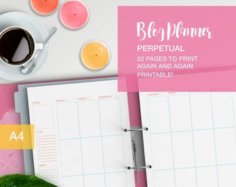 Blogging Planner printable - perpetual no dates - A4 weekly planner - social media planner