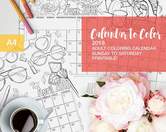 2018 Calendar to color for adults - Sunday to Saturday - Printable!