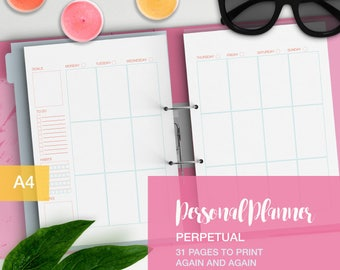 The Complete Personal planner perpetual with no dates - A4 personal planner refills - undated planner
