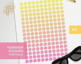 shade teardrop stickers - A4 - printable, print at home, digital prints - erin condren - bullet journal - sunset - pink yellow