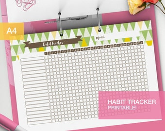 Daily Habit tracker printable - bullet journal inserts - goal tracker - monthly habits - weekly task tracker - tracker PDF - v2