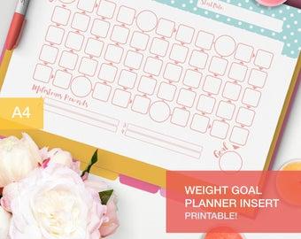 Weight Goal Planner inserts printable - goal tracker - fitness planner pdf - goal setting - v4