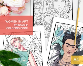 Adult Coloring Book Pdf - Art history - Women painters -  grouwn up coloring printables - Art therapy activities