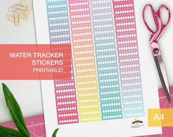 water intake tracker stickers - student planner - bullet journal - personal planner - habit tracker - filofax personal
