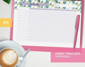 Monthly Habit tracker printable - bujo inserts - printable goal tracker - planner printed refills - new year resolutions - goal planner - v6