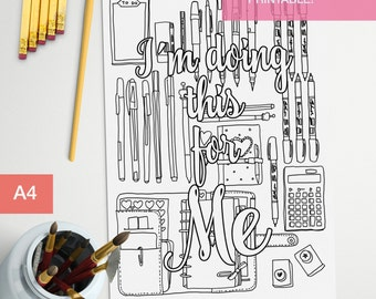 Affirmation quotes coloring page - I'm doing this for me - motivational wall -  A4 - printable, print at home