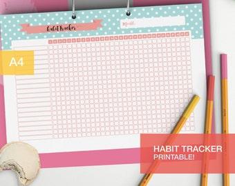 Habit tracker planner insert