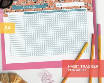 Printable Habit plan - Planner inserts - College student Bullet journal habit page - Bujo inserts habit chart - v1