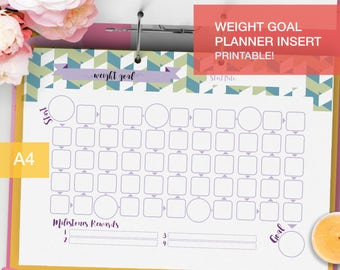 Printable Weight Goal Planner inserts - A4 - goal tracker - fitness planner 2017 goal setting - weight loss planner - v6