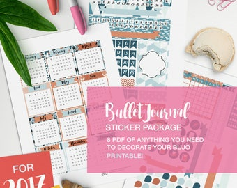 bullet journal stickers package printable - v01 teal and salmon - bullet journaling, bujo inserts, fauxdori ideas, planner inserts