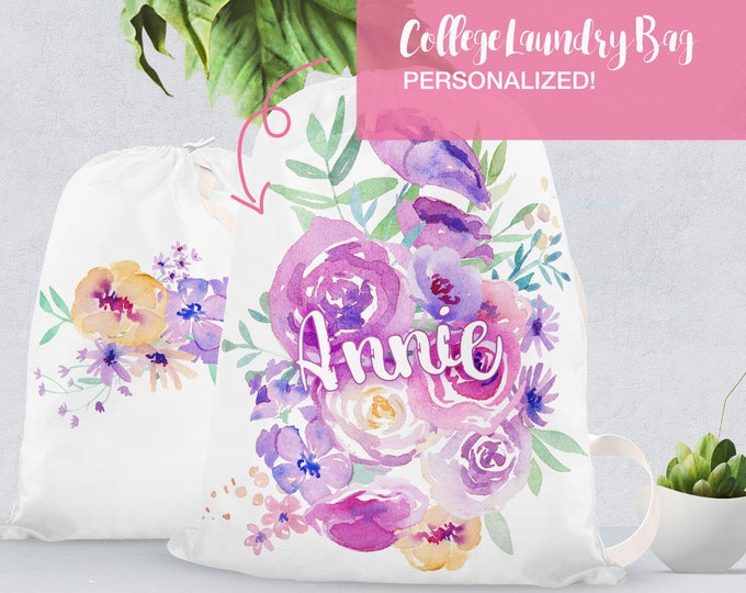 Featured listing image: Personalized floral College Laundry Bag