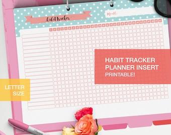Habit tracker planner insert LETTERSIZE