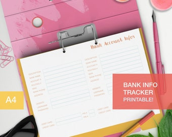 Bank account info tracker - a4 planner inserts - money and budget planner - family budget - debt snowball