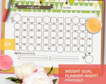 Printable Weight Goal tracker - bujo inserts - fitness planner pdf goal setting - v2