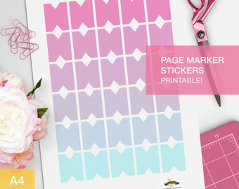 Planner Page markers - A4 - bullet journal printable stickers - kikki k - planner page tag - pink and teal