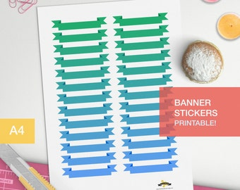 Banner stickers for your planner decorating, printable, midori inserts, bullet journal, study stickers, blog planner, sticker planner,