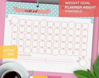Weight Goal Planner inserts printable - LETTERSIZE goal tracker - fitness planner pdf - goal setting - v4