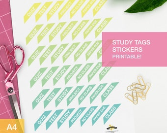 Study tags stickers for your planner decorating
