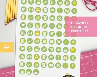 Green Student circle stickers - 3/4 inches icons