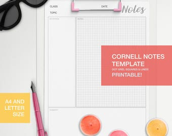 Cornell notes template - A4 and LETTER size - dot grid, square, lines
