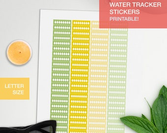 water tracker stickers - student planner - bullet journal - water intake tracker - filofax personal - erin condren - LETTERSIZE