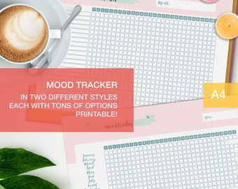 Mood tracker printable - a4 planner inserts - mental health journal - level 10 life - me time v5