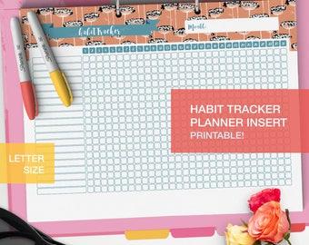 LETTER Printable Habit plan - Planner inserts - College student Bullet journal habit page - Bujo inserts habit chart - v1