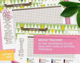 Mood tracker printable - LETTER planner inserts - mental health binder - self care planner - v2