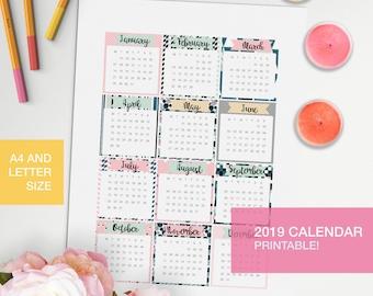 12 month calendar 2019