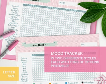 Mood tracker printable - LETTER planner inserts - mental health journal - level 10 life - me time v5