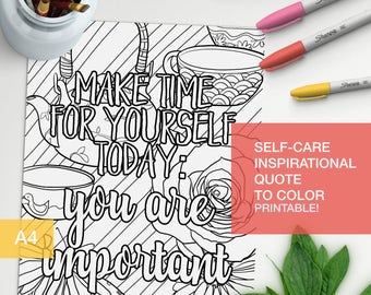 good vibes only art quotes coloring page - take time for yourself: you are important - art therapy -  A4 - printable