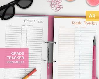 Grade tracker - a4 planner inserts - squad goals - college students - nursing students - school grades - student planner